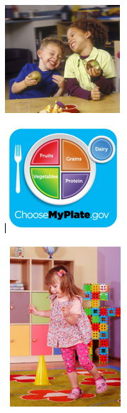 Three Images, Two of Children and One an Infographic of a Healthy Plate of Food