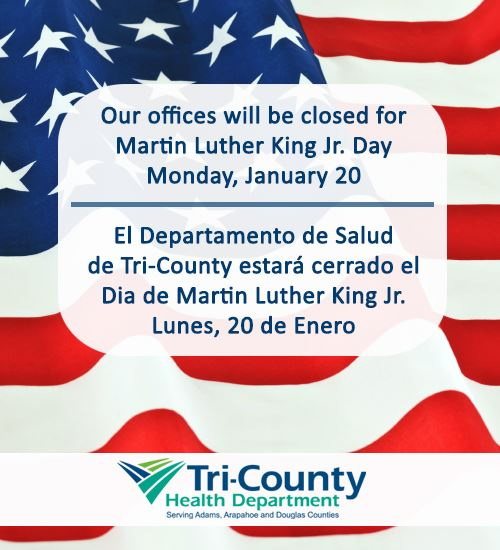 American flag with office closure info for the holiday