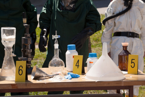 Labeled Confiscated Meth Lab Equipment