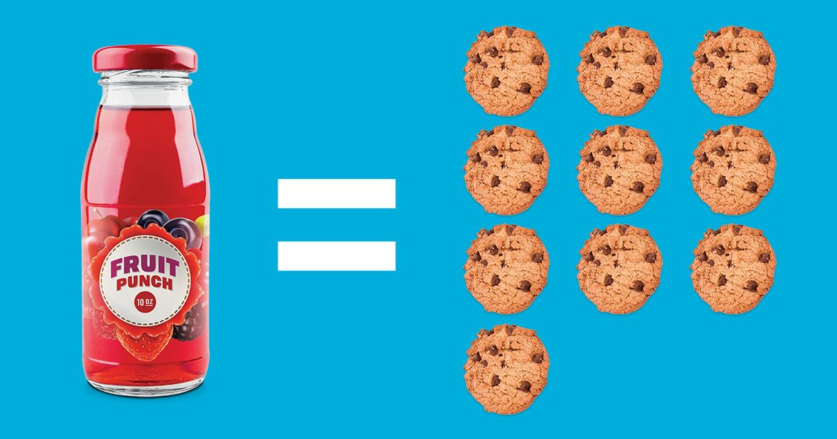 Bottle of Fruit Punch and the Equivalent Amount of Sugar Measured in Cookies