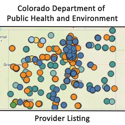 Map of Colorado with dots listing where you can get a flu shot and vaccines Opens in new window