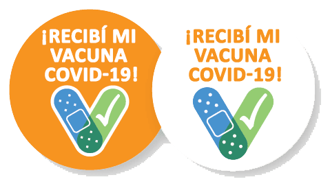 covid-19-vaccine-sticker-spanish with a Band-Aid